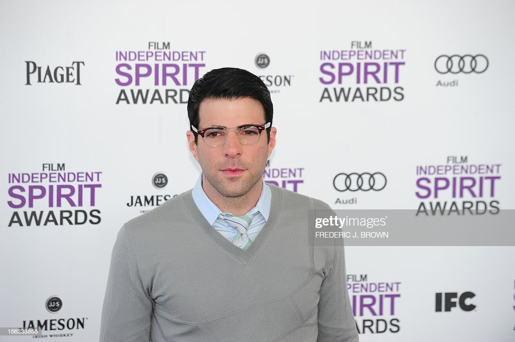 Actor Zachary Quinto arrives on the red carpet on February 25, 2012 for the Independent Spirit Awards in Santa Monica, California. AFP PHOTO/FREDERIC J.BROWN