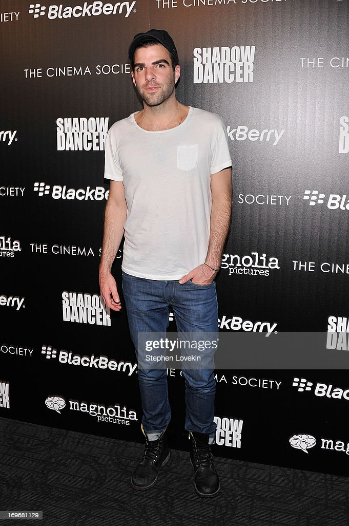 Actor <a gi-track='captionPersonalityLinkClicked' href=/galleries/search?phrase=Zachary+Quinto&family=editorial&specificpeople=715956 ng-click='$event.stopPropagation()'>Zachary Quinto</a> attends a screening of Magnolia Pictures' 'Shadow Dancer' hosted by the Cinema Society & BlackBerry at Sunshine Landmark on May 30, 2013 in New York City.