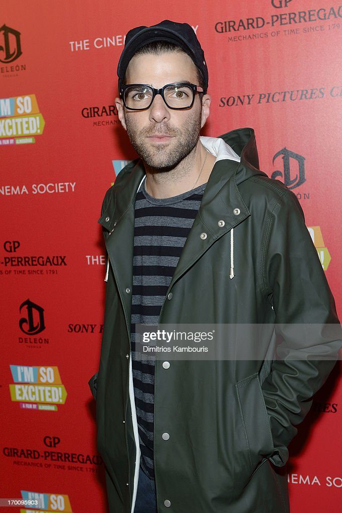 Actor Zachary Quinto attends GirardPerregaux And The Cinema Society With DeLeon Host a Screening Of Sony Pictures Classics' 'I'm So Excited' at...