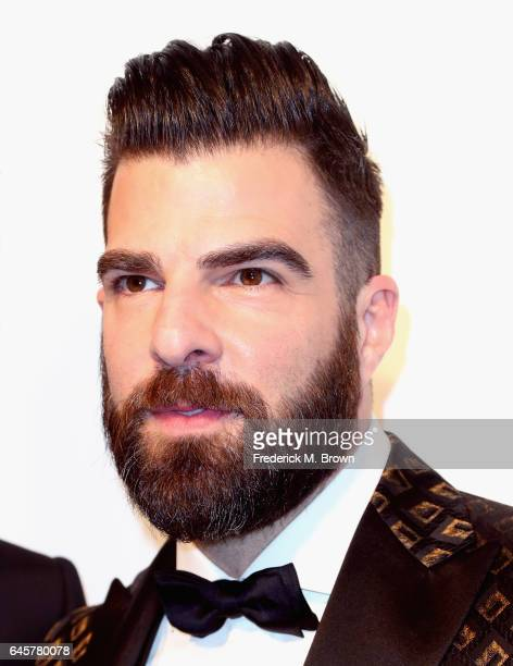 Actor Zachary Quinto attends the 25th Annual Elton John AIDS Foundation's Academy Awards Viewing Party at The City of West Hollywood Park on February...