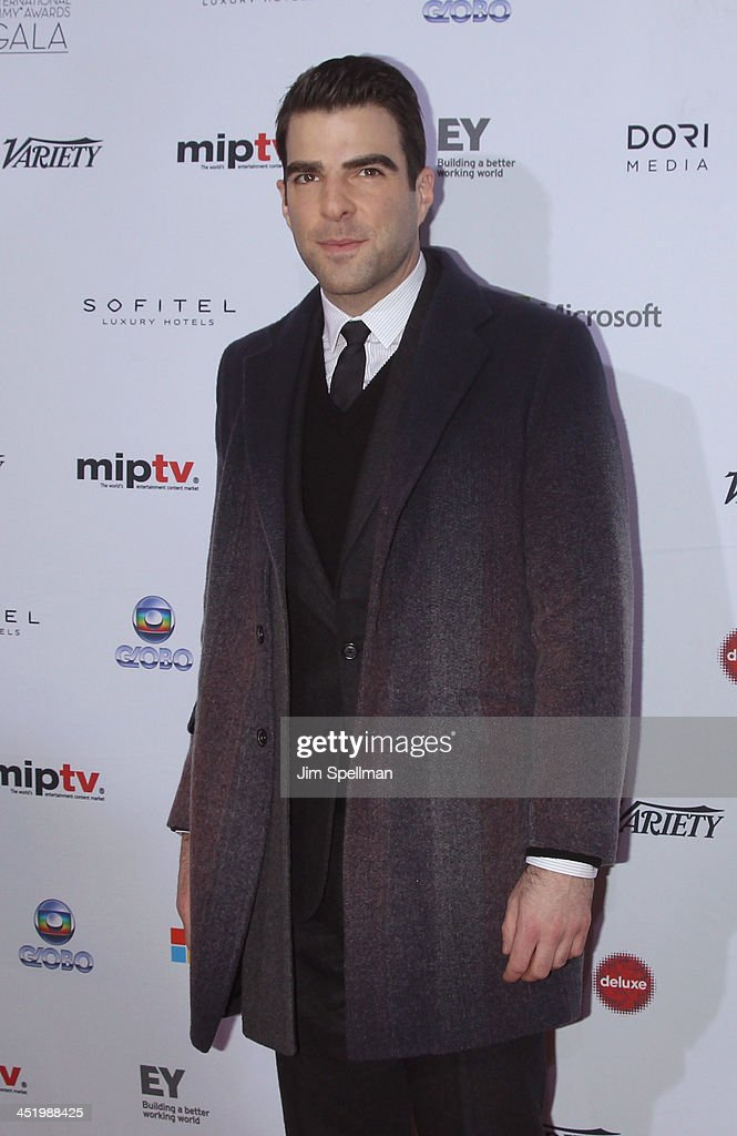 Actor <a gi-track='captionPersonalityLinkClicked' href=/galleries/search?phrase=Zachary+Quinto&family=editorial&specificpeople=715956 ng-click='$event.stopPropagation()'>Zachary Quinto</a> attends the 41st International Emmy Awards at the Hilton New York on November 25, 2013 in New York City.