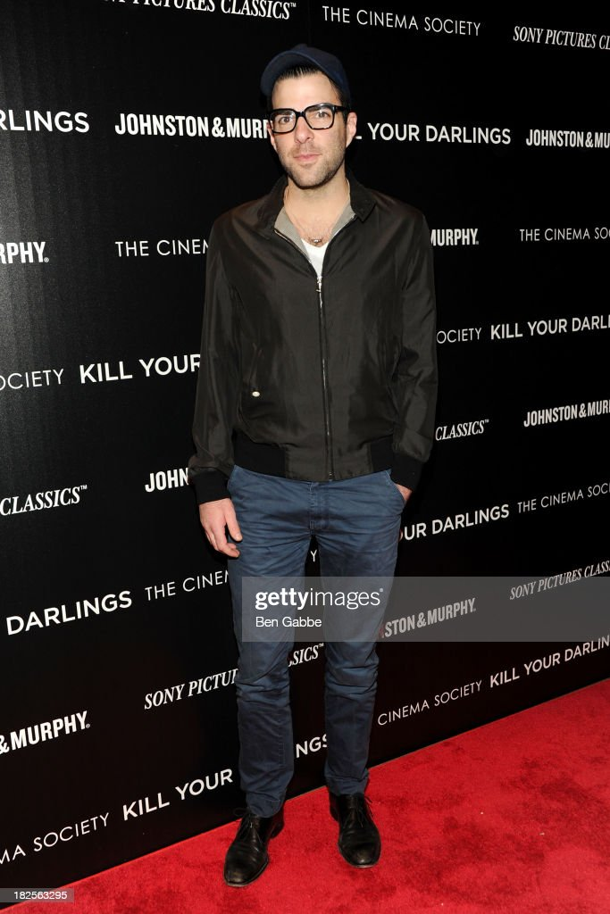 Actor <a gi-track='captionPersonalityLinkClicked' href=/galleries/search?phrase=Zachary+Quinto&family=editorial&specificpeople=715956 ng-click='$event.stopPropagation()'>Zachary Quinto</a> attends The Cinema Society and Johnston & Murphy host a screening of Sony Pictures Classics' 'Kill Your Darlings' at the Paris Theatre on September 30, 2013 in New York City.