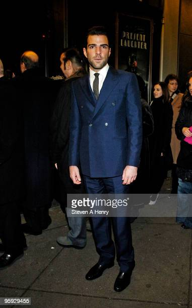 Actor Zachary Quinto attends the opening night of 'Present Laughter' on Broadway at the American Airlines Theatre on January 21 2010 in New York City