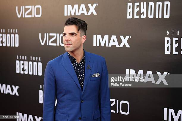 Actor Zachary Quinto attends the premiere of Paramount Pictures' 'Star Trek Beyond' at Embarcadero Marina Park South on July 20 2016 in San Diego...