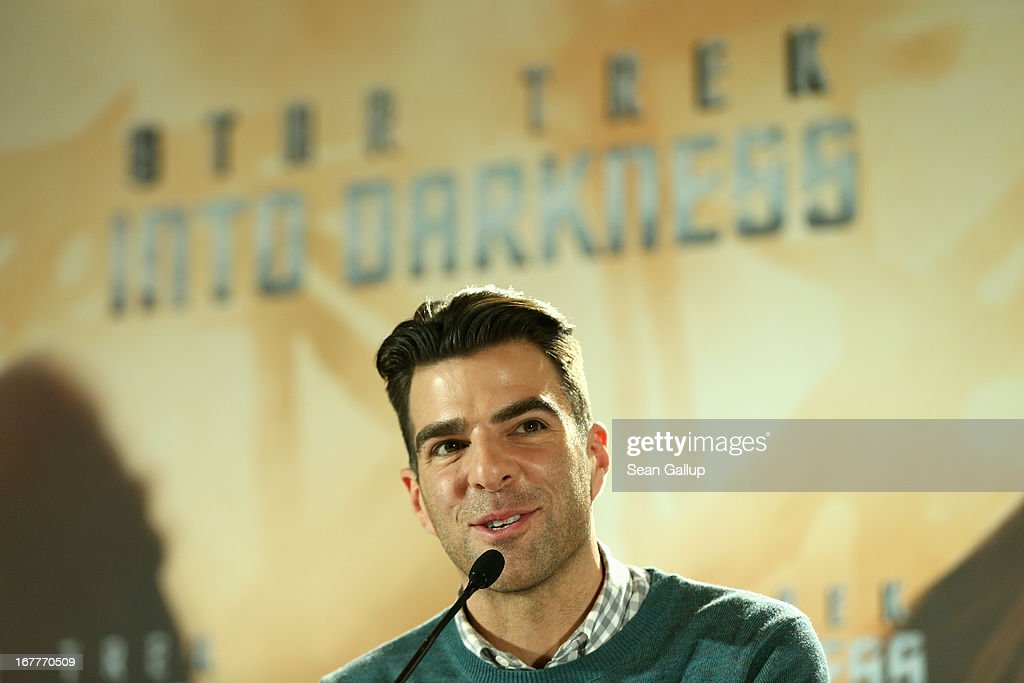Actor <a gi-track='captionPersonalityLinkClicked' href=/galleries/search?phrase=Zachary+Quinto&family=editorial&specificpeople=715956 ng-click='$event.stopPropagation()'>Zachary Quinto</a> attends the 'Star Trek Into Darkness' Press Conference at Hotel Adlon on April 29, 2013 in Berlin, Germany.