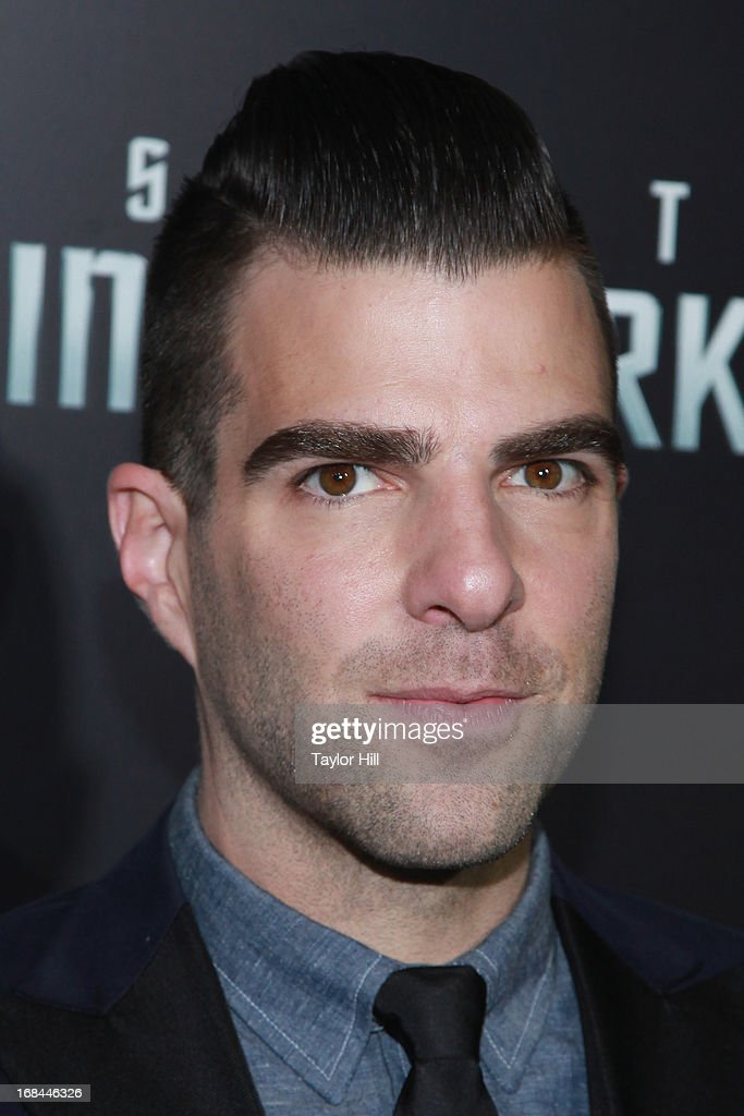 Actor <a gi-track='captionPersonalityLinkClicked' href=/galleries/search?phrase=Zachary+Quinto&family=editorial&specificpeople=715956 ng-click='$event.stopPropagation()'>Zachary Quinto</a> attends the 'Star Trek Into Darkness' screening at AMC Loews Lincoln Square on May 9, 2013 in New York City.