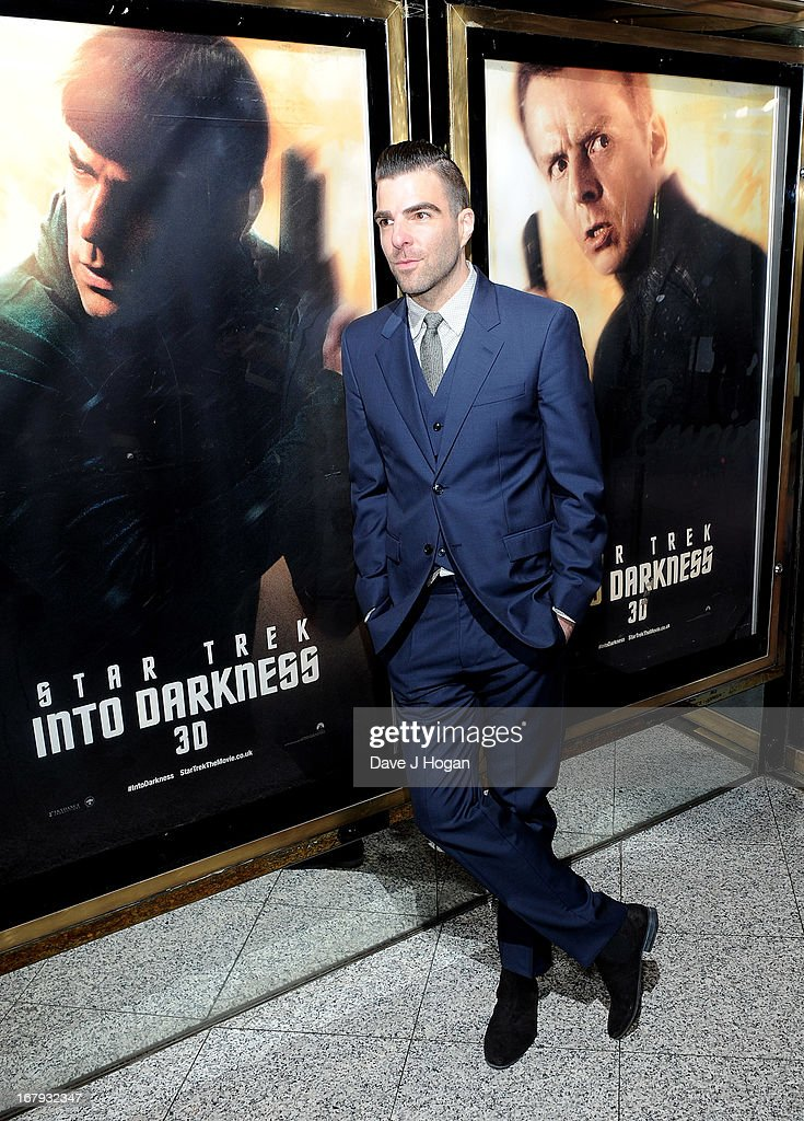 Actor Zachary Quinto attends the 'Star Trek Into Darkness' UK Premiere at the Empire Leicester Square on May 2, 2013 in London, England.