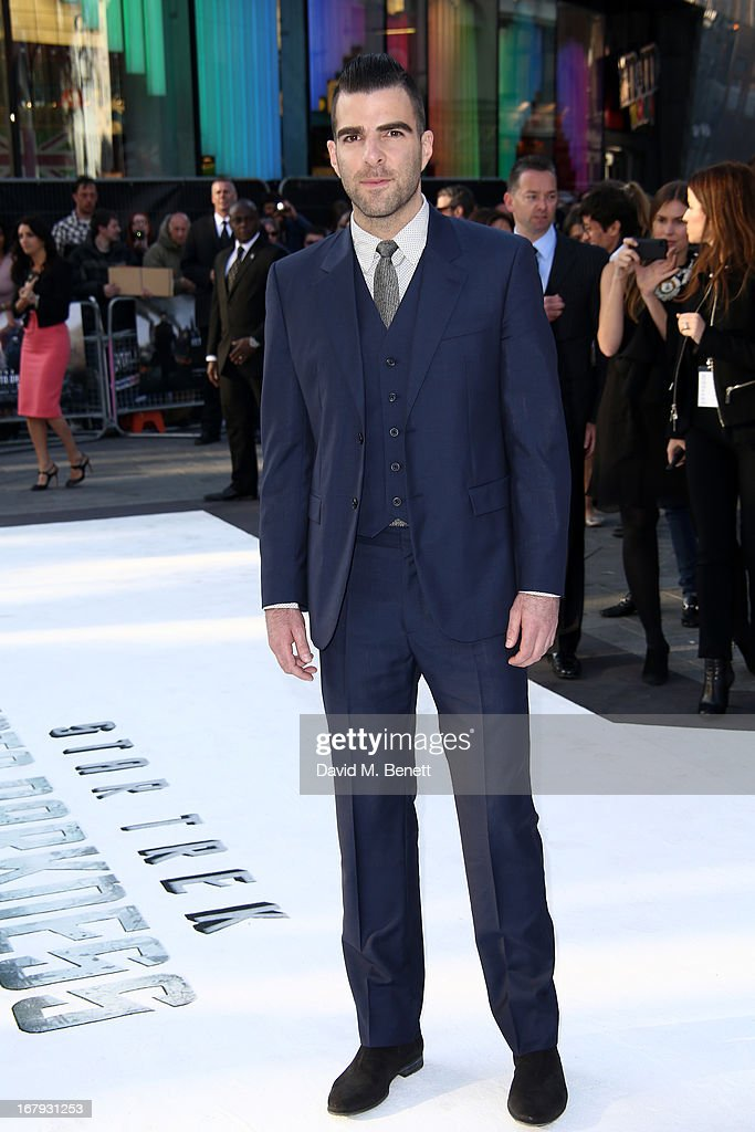 Actor Zachary Quinto attends the UK Premiere of 'Star Trek Into Darkness' at The Empire Cinema on May 2, 2013 in London, England.