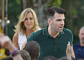 Actor Zachary Quinto is interviewed on ABC's 'Good Morning America' on ABC's 'Good Morning America' at SummerStage at Rumsey Playfield Central Park...