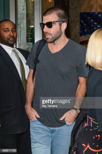 Actor Zachary Quinto leaves the Huffington Post Studios on September 15 2014 in New York City