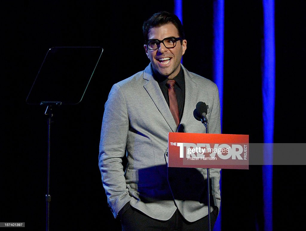 Actor Zachary Quinto onstage at 'Trevor Live' honoring Katy Perry and Audi of America for The Trevor Project held at The Hollywood Palladium on December 2, 2012 in Los Angeles, California.