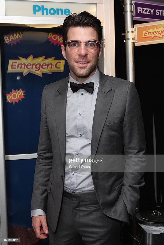 Actor <a gi-track='captionPersonalityLinkClicked' href=/galleries/search?phrase=Zachary+Quinto&family=editorial&specificpeople=715956 ng-click='$event.stopPropagation()'>Zachary Quinto</a> poses with Emergen-C in the Presenters Gift Lounge Backstage in celebration of the 64th Primetime Emmy Awards produced by On 3 Productions at Nokia Theatre L.A. Live on September 23, 2012 in Los Angeles, California.
