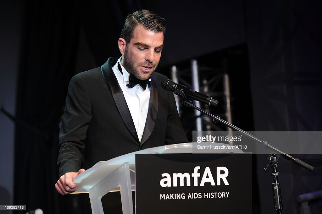 Actor <a gi-track='captionPersonalityLinkClicked' href=/galleries/search?phrase=Zachary+Quinto&family=editorial&specificpeople=715956 ng-click='$event.stopPropagation()'>Zachary Quinto</a> speaks onstage during amfAR's 20th Annual Cinema Against AIDS during The 66th Annual Cannes Film Festival at Hotel du Cap-Eden-Roc on May 23, 2013 in Cap d'Antibes, France.