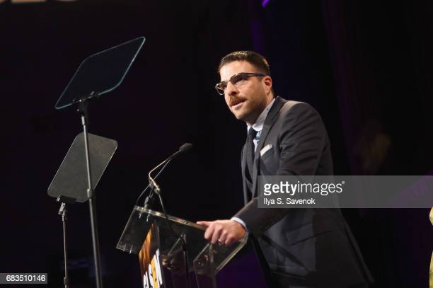 Actor Zachary Quinto speaks onstage during the 2017 GLSEN Respect Awards on May 15 2017 in New York City