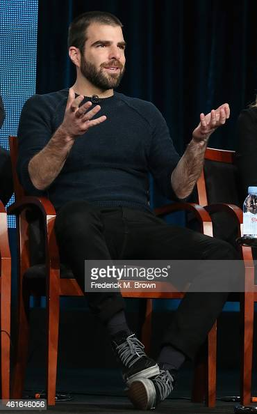 Actor Zachary Quinto speaks onstage during the 'The Slap' panel discussion at the NBC/Universal portion of the 2015 Winter TCA Tour at the Langham...