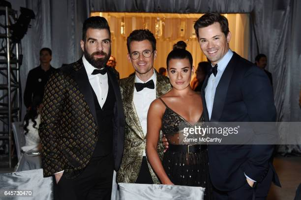 Actor Zachary Quinto TV Personality Brad Goreski Actor Lea Michele and Actor Andrew Rannells attends the 25th Annual Elton John AIDS Foundation's...