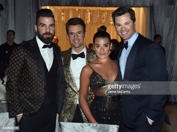 Actor Zachary Quinto TV personality Brad Goreski actor Lea Michele and Andrew Rannells attend the 25th Annual Elton John AIDS Foundation's Academy...