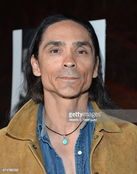Actor Zahn McClarnon attends a screening of Sundance Channel's 'The Red Road' at The Bronson Caves at Griffith Park on February 24 2014 in Los...