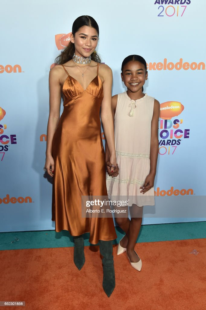 actor-zendaya-and-guest-at-nickelodeons-2017-kids-choice-awards-at-picture-id652301858