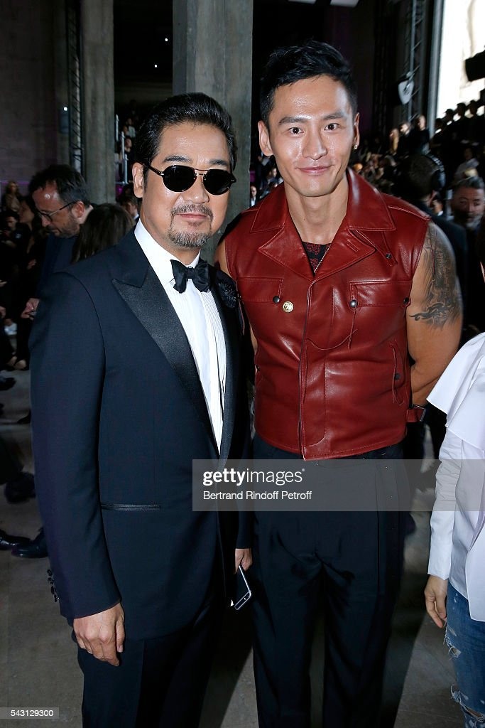 Actor Zhang Guoli and model Gu You Ming attend the Lanvin Menswear Spring/Summer 2017 show as part of Paris Fashion Week on June 26, 2016 in Paris, France.