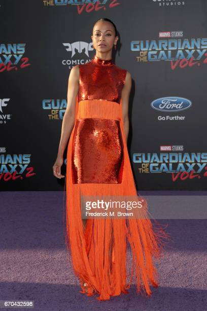Actor Zoe Saldana at the premiere of Disney and Marvel's 'Guardians Of The Galaxy Vol 2' at Dolby Theatre on April 19 2017 in Hollywood California