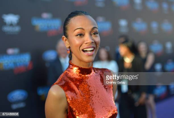 "Actor Zoe Saldana at The World Premiere of Marvel Studios' ""Guardians of the Galaxy Vol 2"" at Dolby Theatre in Hollywood CA April 19th 2017"