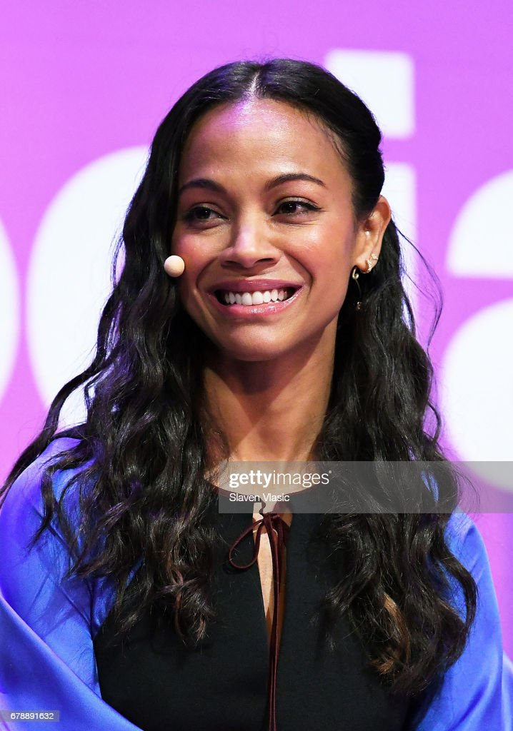 Actor Zoe Saldana attends 5th Annual Moms +SocialGood event at AXA Event & Production Center on May 4, 2017 in New York City.