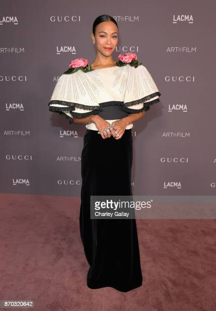 Actor Zoe Saldana wearing Gucci attends the 2017 LACMA Art Film Gala Honoring Mark Bradford and George Lucas presented by Gucci at LACMA on November...