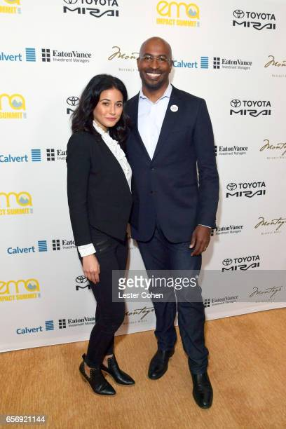 Actor/activist Emmanuelle Chriqui and president/cofounder of The Dream Corps and CNN contributor Van Jones attend the EMA IMPACT Summit hosted by the...