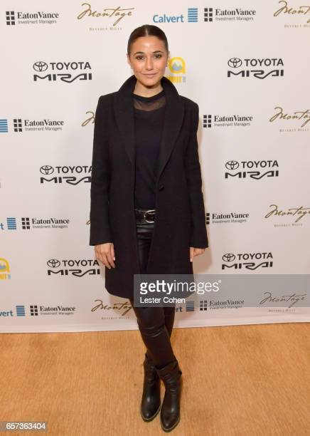 Actor/activist Emmanuelle Chriqui attends the EMA IMPACT Summit hosted by the Environmental Media Association presented by Toyota Mirai and Calvert...