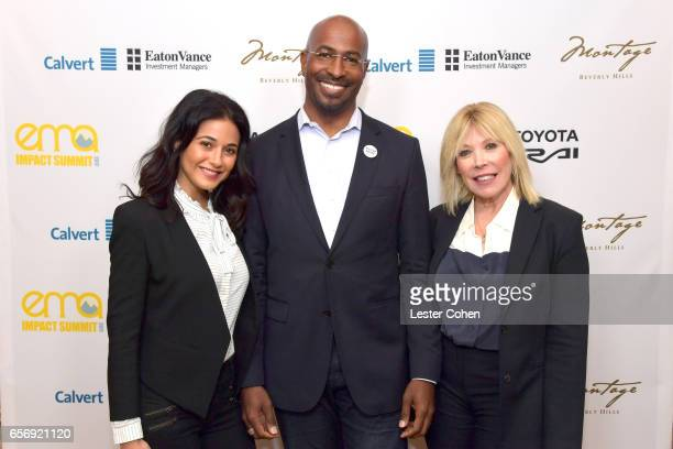 Actor/activist Emmanuelle Chriqui president/cofounder of The Dream Corps and CNN contributor Van Jones and president and CEO of EMA Debbie Levin...