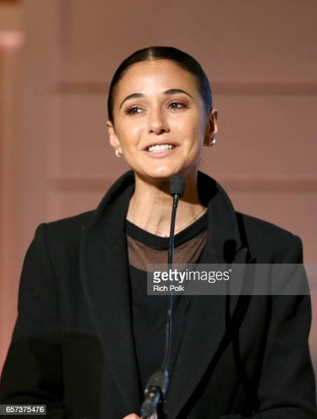 Actor/activist Emmanuelle Chriqui speaks onstage during 'The Age of Transparency' panel at the EMA IMPACT Summit hosted by the Environmental Media...