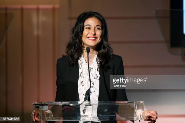 Actor/activist Emmanuelle Chriqui speaks onstage during the EMA IMPACT Summit hosted by the Environmental Media Association presented by Toyota Mirai...