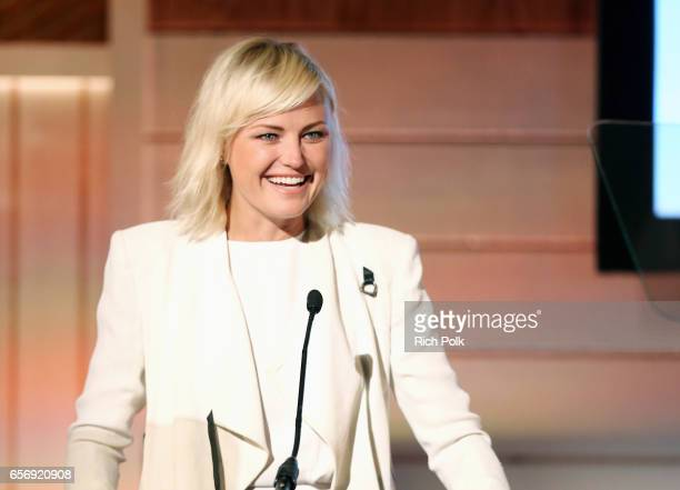 Actor/activist Malin Akerman introduces the keynote on 'Investor Activism' during the EMA IMPACT Summit hosted by the Environmental Media Association...