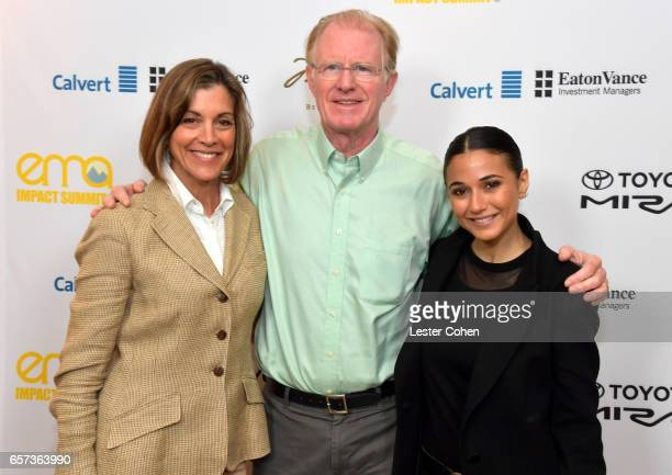 Actor/activist Wendie Malick actor/environmental activist Ed Begley Jr and actor/activist Emmanuelle Chriqui attend the EMA IMPACT Summit hosted by...