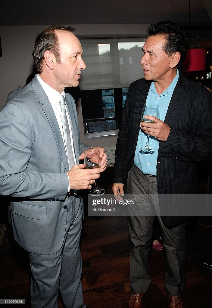 Actor/artistic director of the Old Vic, <a gi-track='captionPersonalityLinkClicked' href=/galleries/search?phrase=Kevin+Spacey&family=editorial&specificpeople=202091 ng-click='$event.stopPropagation()'>Kevin Spacey</a> (L), and actor <a gi-track='captionPersonalityLinkClicked' href=/galleries/search?phrase=Wes+Studi+-+Actor&family=editorial&specificpeople=1147913 ng-click='$event.stopPropagation()'>Wes Studi</a> attend the Old Vics New Voices Network NYC launch party at Soho House on May 22, 2008 in New York City.