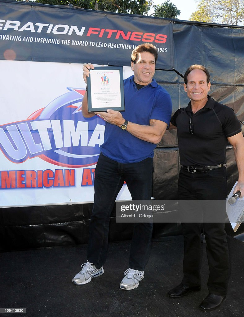 Actor/body builder Lou Ferigno and fitness expert Mike Torchia participate in the Red Carpet Health Expo held at The Vitamin Shoppe on January 12, 2013 in Los Angeles, California.