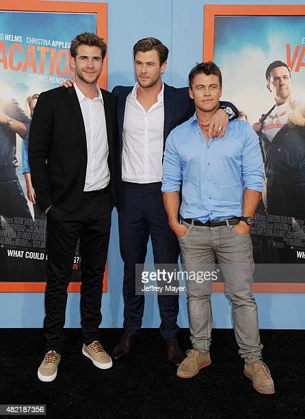 Actor/brothers Chris Hemsworth Liam Hemsworth Luke Hemsworth arrives at the Premiere Of Warner Bros 'Vacation' at Regency Village Theatre on July 27...