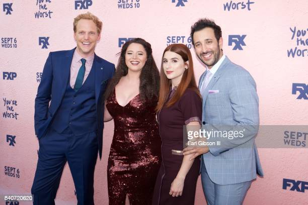 Actor/Castmates Chirs Geere Kether Donohue Aya Cash and Desmin Borges attend the premiere of FXX's 'You're The Worst' Season 4 at Museum of Ice Cream...