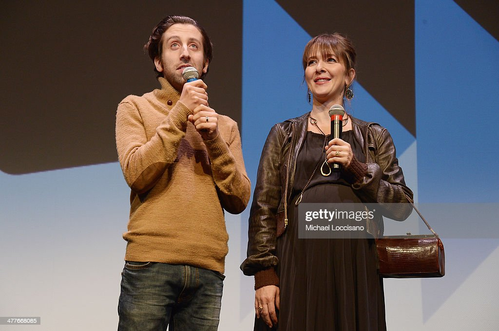 Actor/co-director <a gi-track='captionPersonalityLinkClicked' href=/galleries/search?phrase=Simon+Helberg&family=editorial&specificpeople=3215017 ng-click='$event.stopPropagation()'>Simon Helberg</a> and co-director Jocelyn Towne address the audience before the 'We'll Never Have Paris' premiere during the 2014 SXSW Music, Film + Interactive Festival at the Topfer Theatre at ZACH on March 10, 2014 in Austin, Texas.