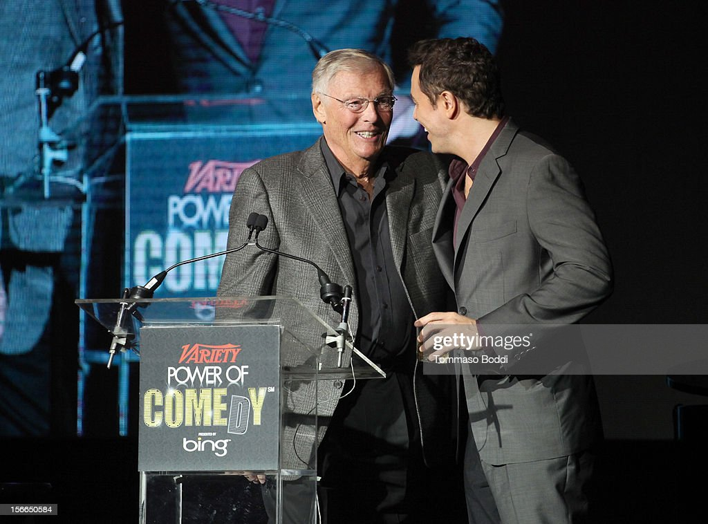 Actor/comdian Adam West (L) and honoree Seth MacFarlane speak onstage at Variety's 3rd annual Power of Comedy event presented by Bing benefiting the Noreen Fraser Foundation held at Avalon on November 17, 2012 in Hollywood, California.