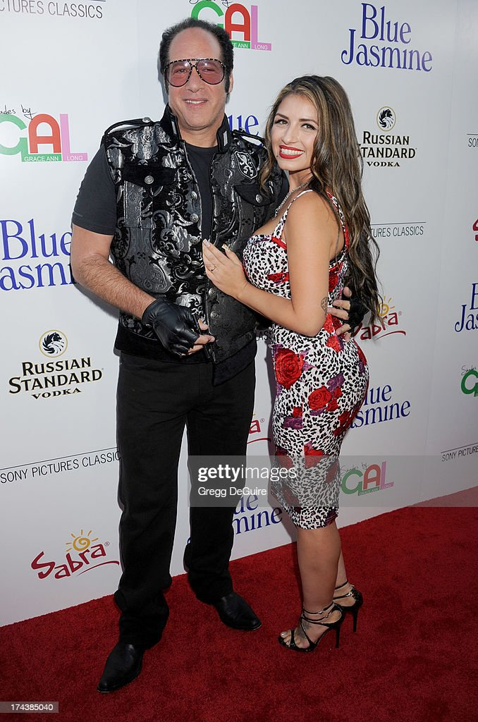 Actor/comedian Andrew Dice Clay and wife Valerie Vasquez arrive at the Los Angeles premiere of 'Blue Jasmine' at the Academy of Motion Picture Arts and Sciences on July 24, 2013 in Beverly Hills, California.