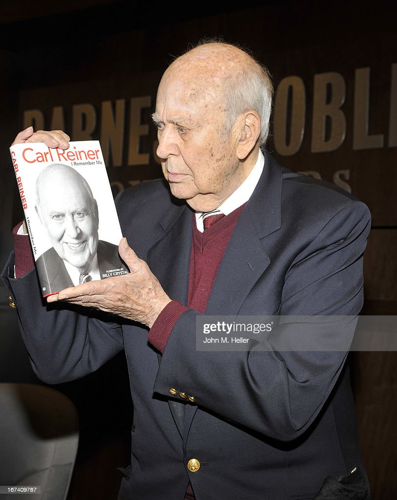 Actor/Comedian <a gi-track='captionPersonalityLinkClicked' href=/galleries/search?phrase=Carl+Reiner&family=editorial&specificpeople=660635 ng-click='$event.stopPropagation()'>Carl Reiner</a> signs copies of his new book 'I Remember Me' at Barnes & Noble bookstore at The Grove on April 24, 2013 in Los Angeles, California.