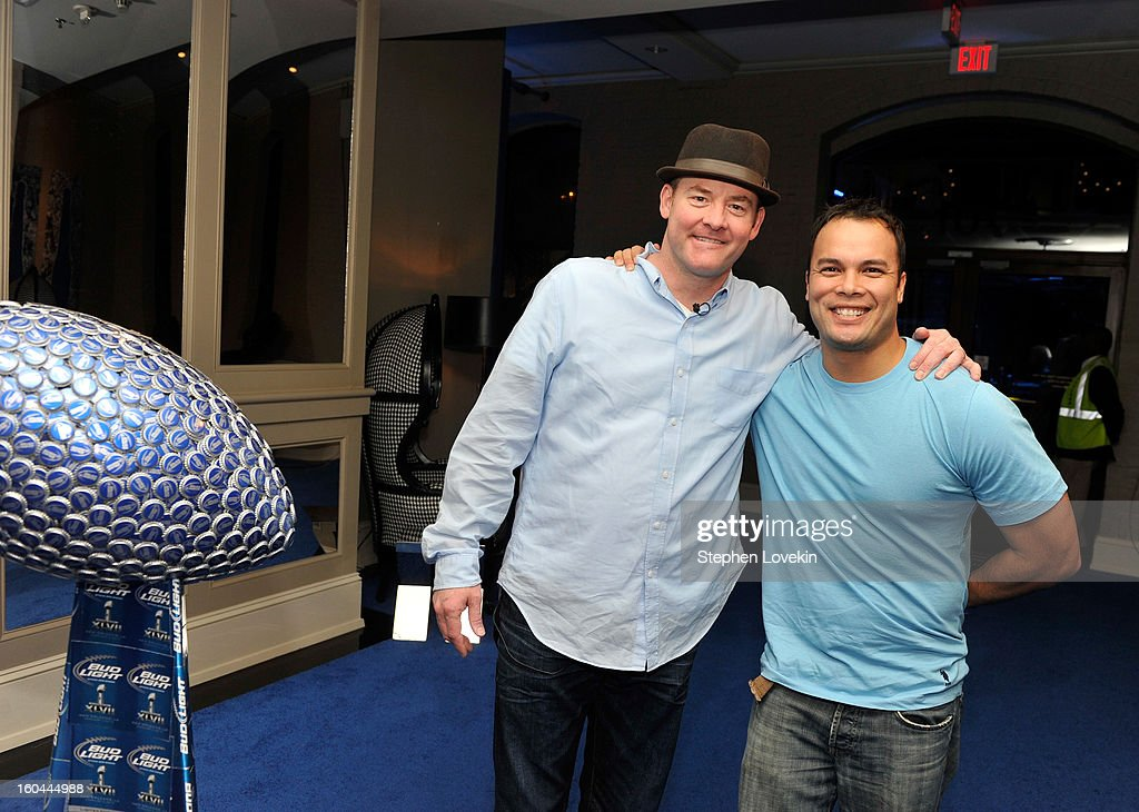 Actor/comedian David Koechner (L) gives a tour of the newly transformed Bud Light Hotel with Bud Light Hotel Facebook Correspondent Steve Meinke (R) in downtown New Orleans in advance of Super Bowl XLVII, on January 30, 2013 in New Orleans, Louisiana. The Bud Light Hotel will be the place to be in New Orleans during Super Bowl week with a full lineup of exclusive events and concerts.