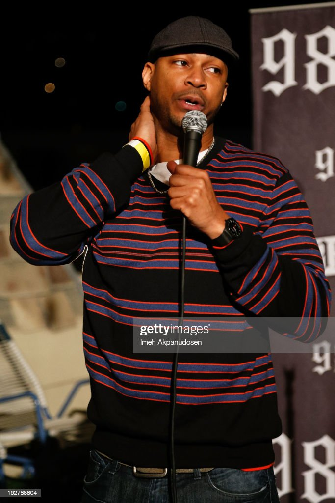 Actor/comedian <a gi-track='captionPersonalityLinkClicked' href=/galleries/search?phrase=Finesse+Mitchell&family=editorial&specificpeople=811726 ng-click='$event.stopPropagation()'>Finesse Mitchell</a> performs at 98.7 FM's Penthouse Party Pad at The Historic Hollywood Tower on February 26, 2013 in Hollywood, California.