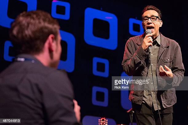 Actor/comedian Fred Armisen performs on stage during the Moontower Comedy Festival at The Paramount Theater on April 26 2014 in Austin Texas