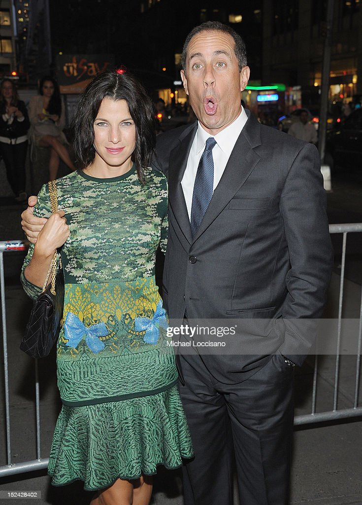 Actor/Comedian <a gi-track='captionPersonalityLinkClicked' href=/galleries/search?phrase=Jerry+Seinfeld&family=editorial&specificpeople=210541 ng-click='$event.stopPropagation()'>Jerry Seinfeld</a> and wife <a gi-track='captionPersonalityLinkClicked' href=/galleries/search?phrase=Jessica+Seinfeld&family=editorial&specificpeople=206558 ng-click='$event.stopPropagation()'>Jessica Seinfeld</a> attend the 'If There Is I Haven't Found It' Broadway opening night at Laura Pels Theatre on September 20, 2012 in New York City.