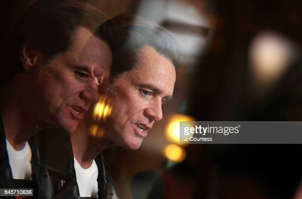 Actor/comedian Jim Carrey speaks to the media at the premiere of 'Jim Andy The Great Beyond' during the 2017 Toronto International Film Festival at...