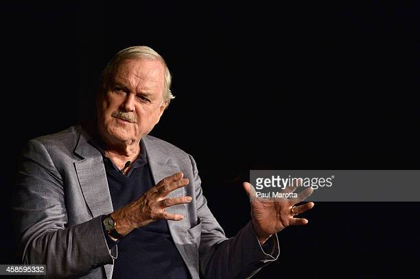 Actor/comedian John Cleese speaks to a sold out audience at 'An Evening with John Cleese' at The John F Kennedy Presidential Library And Museum on...