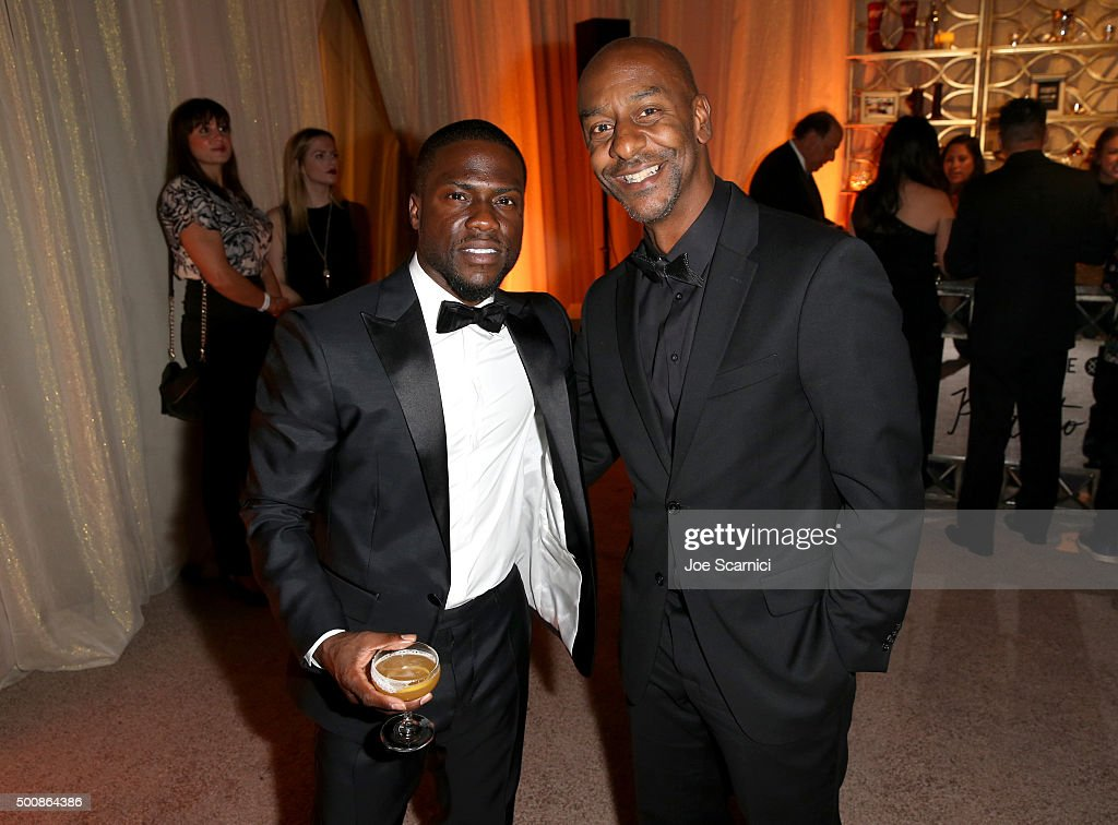 Actor/comedian Kevin Hart (L) and BET president of programming Stephen Hill attend The Diamond Ball II with D'USSE and Armand de Brignac at The Barker Hanger on December 10, 2015 in Santa Monica, California.